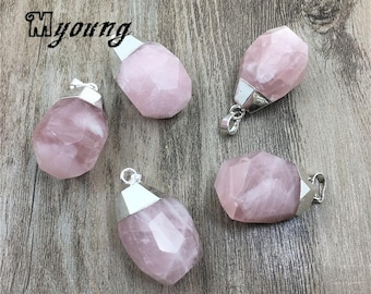 Faceted Teardrop Shape Rose Quartz Pendant Charm With Silver Plated Cap,Pink Crystal Quartz Nugget Pendant For Jewelry Making, GP081705