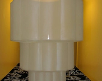 vintage(sold) art deco stacked rolls stacked rolls frosted tiered glass ceiling shade fixture
