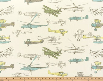 "Vintage Rides. Airplanes. Planes. Aircraft. 32"" Remnant - Premier Prints Formica Home Decor - Green Fabric by the Yard. Airplane Fabric."