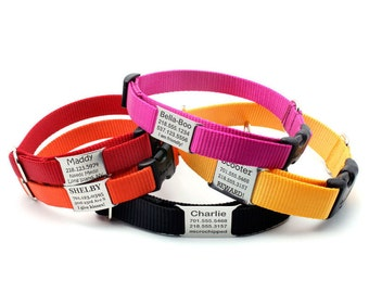 Stealth Personalized Nylon Dog Collar with Laser Engraved Personalized NamePlate Built In