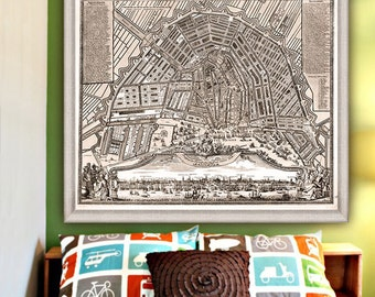 "Map of Amsterdam 1727, Large vintage Amsterdam map up to 36x30"" (90x75cm) Amsterdam Holland Netherlands - Limited Edition of 100"