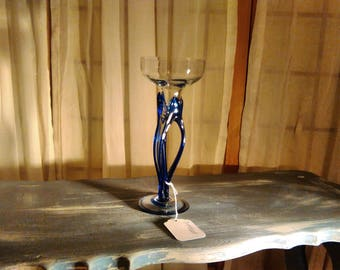 Glass candle stick, 1970's hand blown candle stick.