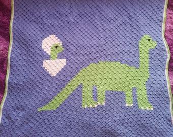 C2C Dinosaur Baby Blanket Crochet Pattern