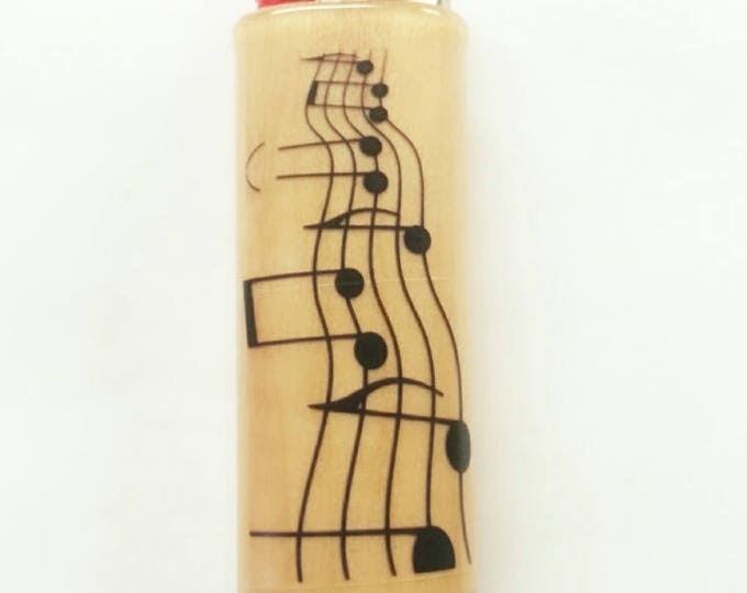 Musical Notes BIC Lighter Case Holder Sleeve Cover Musician Music