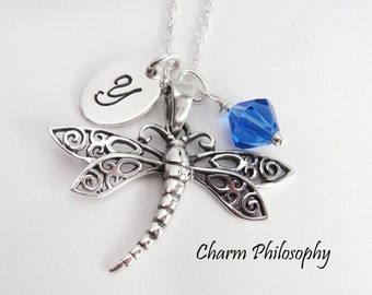 Dragonfly Necklace - 925 Sterling Silver - Personalized Dragonfly Jewelry