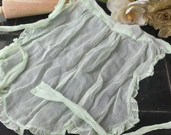 Sheer Mint Green half apron/ Dress up Apron/vintage apron/gifts for her/costume wear/sheer apron/girls apron/Dress up apron