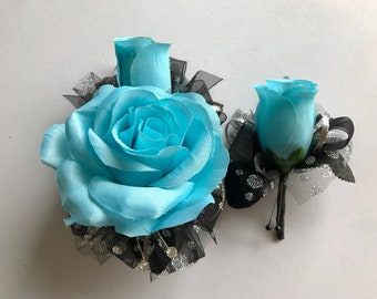 Turquoise Blue Silk Corsage Set (New Bigger Flowers )