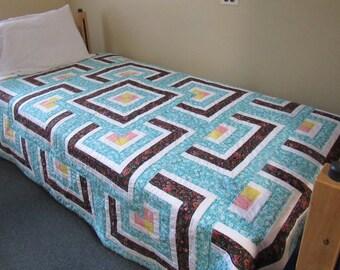 homemade handmade quilt, teal floral quilt, twin quilt, modern quilt, modern geometric quilt, girls room decor, girls bedding