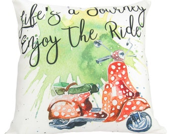 Life's a Journey   Pillow Cover   Travel Quote   Throw Pillow   18 x 18   Enjoy the Ride   Pillow   Inspirational Quote   Home Decor   Moped