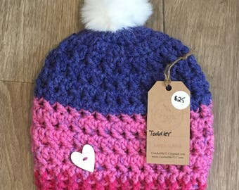 Warm Hugs Toddler Pom Pom Toque Ready to Ship, crochet hat, crochet toque, crochet beanie, pompom beanie
