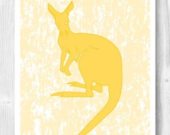 Kangaroo print, marsupial poster, nursery decor, nursery art, decorative arts, baby shower gift, baby room decor, kid gift school decoration