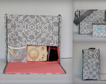 XS Ella style Breast Pump Bag in PP Ramey Lt Gray print