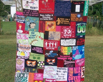 T-shirt Blanket Patchwork Upcycled Recycled Shirts with Sayings Ready to Ship