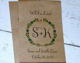 Wow Rustic Watercolor Monogrammed Floral Wreath Flower Seed Packet Favor Shabby Chic Cute Favors for Country Bridal Shower Wedding Birthday