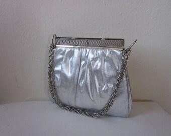 1960s Silver Metallic Fabric Handbag