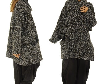 HR400DGR sweater 30% wool and 70 polyester Boucle Gr. 42, 44, 46, 48, 50, 52 black/grey plus size layer look