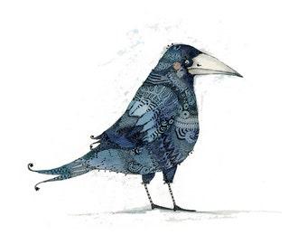 Giclee Raven Bird print 8x11
