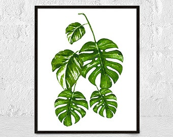 Monstera Leaf Print, Modern Minimal Botanical Wall Art, Large Printable Poster, Tropical Decor, Green Plant Leaves, Digital Download