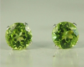 Memorial Day Sale Peridot Stud Earrings Sterling Silver 6mm Round 2ctw Natural Untreated
