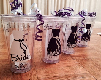 Custom Bridal Party Cups - Personalized