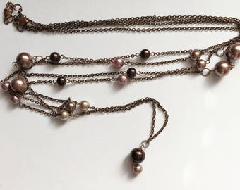 Double Chain Pearl Necklace Two Strand Long Necklace Beaded Dellicate Necklace Retro Gatsby Accessories Flapper Pearls Downton Abbey Jewelry