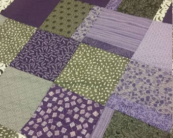Purple, gray and black lap quilt. Throw.