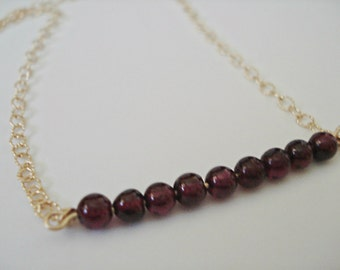 Garnet Bar Necklace, Red Garnet, Gold Garnet Necklace, January Birthstone, Minimalist Necklace, 14k Gold Filled,