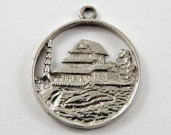Nikka Yuko Japanese Garden Lethbridge Alberta Canada Sterling Silver Charm of Pendant.