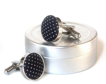 Unisex Cufflinks with Fabric Covered Buttons - Darkest Navy with Natural White Polka Dots - Perfect for Groom and Groomsmen