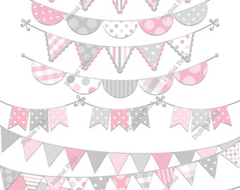 Pink and Gray Bunting Clip Art Set - printable digital clipart - instant download