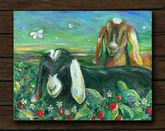 Goats and Strawberries mixed media artwork archival giclée print on cradled board with edges