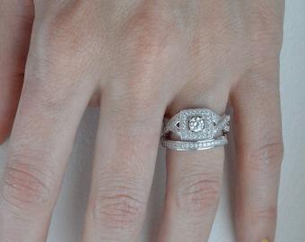 Cubic Zirconia Wedding Ring Set - Vintage Style Engagement Ring - Unique Engagement Ring - Antique Promise Ring