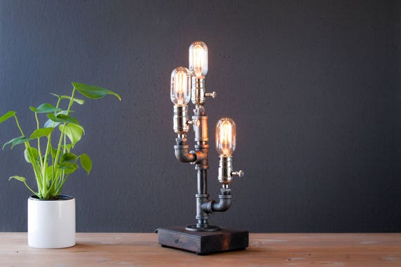 Steampunk lamp-Rustic Lighting-Rustic home decor-Housewarming gift for men-Industrial lighting-Farmhouse decor-Desk accessories-Desk lamp