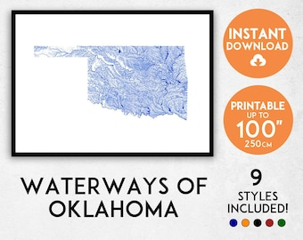 Oklahoma map print, Oklahoma print, Oklahoma rivers, USA map, Oklahoma poster, Oklahoma wall art, Map of Oklahoma, Oklahoma art print