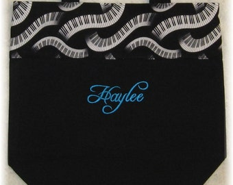 PIANO MUSIC BaG personalized music lesson book bag embroidered keyboard black canvas musician birthday recital gift idea