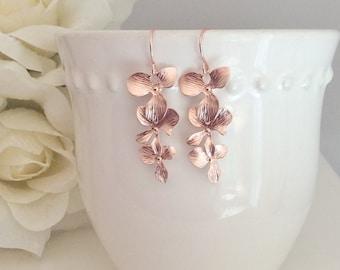 Rose Gold Earrings, Orchid Earrings Dangle Earrings Rose Gold Jewelry Bridesmaid Gifts Bridesmaid Jewelry Birthday Gift, Best Selling Item