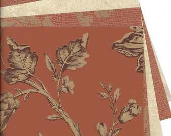 Terra Cotta, Cream and Gold Wallpaper Pack for Decoupage, ACTs, Paper Arts, Collage, Scrapbooking, Assemblage and MORE PSS 2725