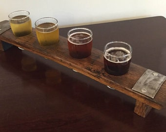 Beer Flight Tray Made From Reclaimed Whiskey Barrel Stave ~ 4 Glass