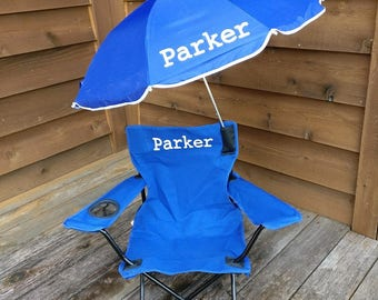 Beach Camping Chair Fold able Travel Detachable Umbrella with personalization monogram