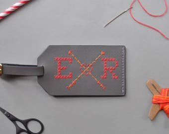 Stitch your own Leather Luggage Tag - Grey