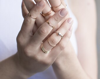Thin 14k Gold Ring Set of 3, 14k Gold Hammered Thin Stacking Rings