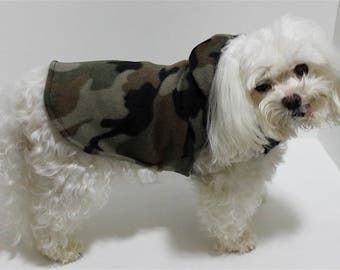 Camouflage Dog Hoodie, 3XS XXS XS S M L, Dog Sweater Brown and Green Camo fleece, warm dog clothes