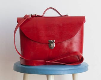 Red pouch with handle