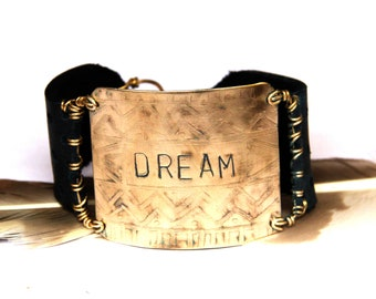 Etched Tribal Brass Stamped DREAM and Black Leather Bracelet (B1391)