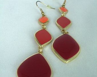 Vintage Earrings - 3 Rhombs- Bordeaux, Brick-Red,90's, Retro, Fashion Jewerly, Enamel, Golden, Nickel-Free