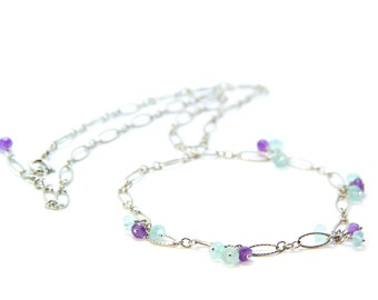 Ava - Aqua Blue Chalcedony, Purple Amethyst and Sterling Sliver Necklace