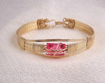 Gold fill and synthetic pink stone wire wrapped bracelet - Sofia's Bracelet