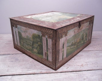 large metal tin box with hinged lid / country house / weathered and worn