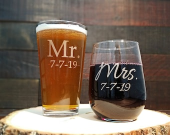 Mr. and Mrs. Personalized Glasses, Beer and Wine Glass Set, Custom Engraved with Date, Gift for the Couple, Wedding Glasses, Custom Engraved