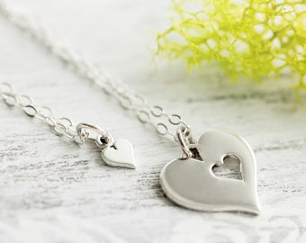Sterling Silver Heart Necklace Set, Mother Daughter Gift Set, Mothers Day Gift